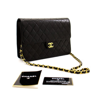 CHANEL Chain Shoulder Bag Clutch Black Quilted Flap Lambskin Purse z96 hannari-shop