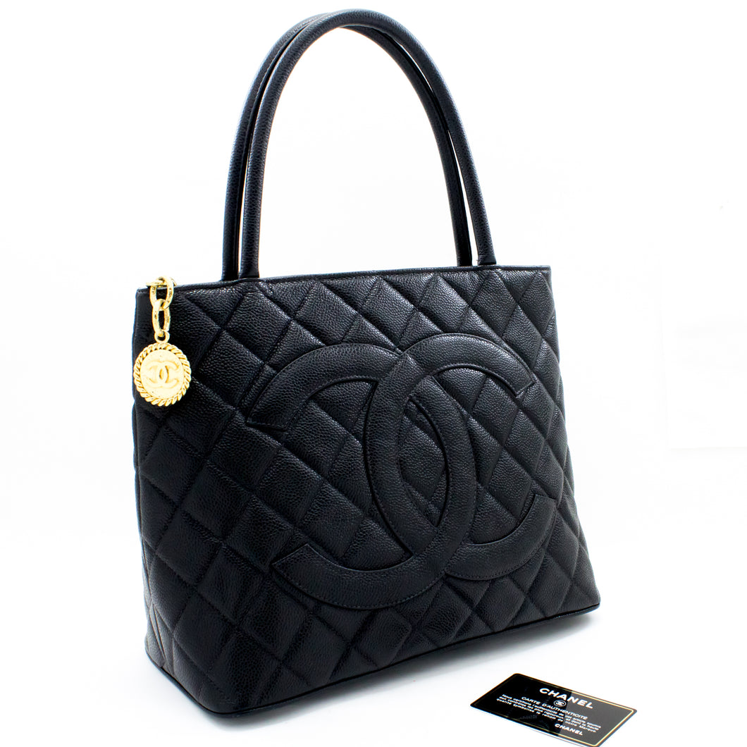 CHANEL Gold Medallion Caviar Shoulder Bag Shopping Tote Black t11-hannari-shop