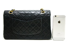 CHANEL 2.55 Double Flap Chain Shoulder Bag Black Quilted Lambskin R48-Chanel-hannari-shop