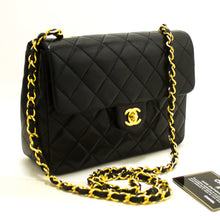 CHANEL Mini Square Small Chain Shoulder Bag Crossbody Black Q80-Chanel-hannari-shop