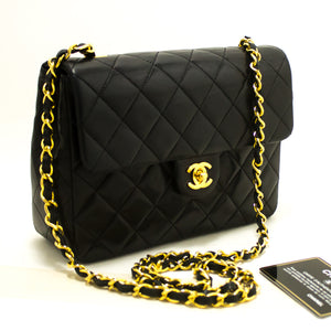 CHANEL Mini Square Small Chain Shoulder Bag Crossbody Black Q80