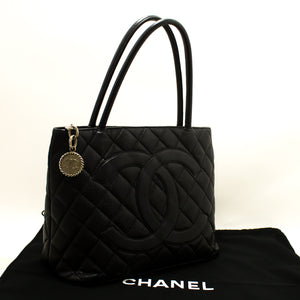 CHANEL Caviar Silver Medallion Shoulder Bag Black Leather Tote p27