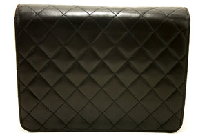 CHANEL Chain Shoulder Bag Clutch Black Quilted Flap Lambskin Purse i95