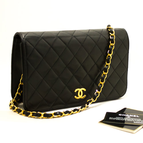 CHANEL Chain Shoulder Bag Clutch Black Quilted Flap Lambskin R47-anel-hannari-shop