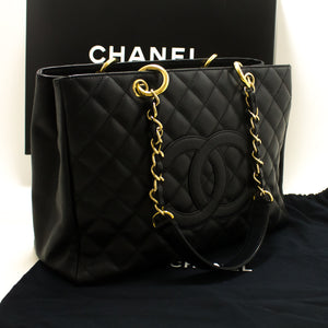 "CHANEL Caviar GST 13"" Grand Shopping Tote Chain Shoulder Bag Black p34"
