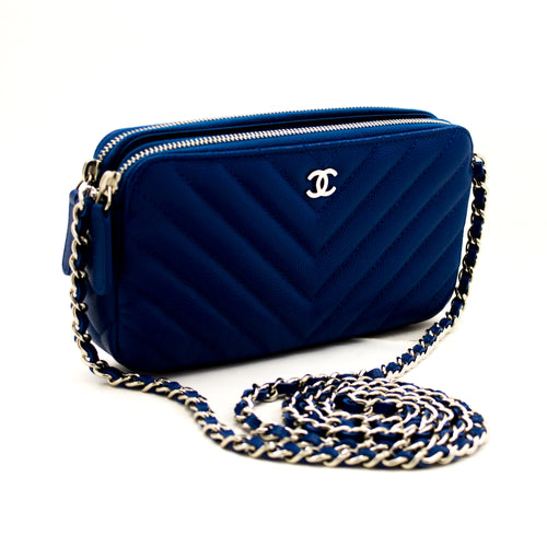 CHANEL Blue Caviar Wallet On Chain WOC V-Stitch Shoulder Bag L98 hannari-shop