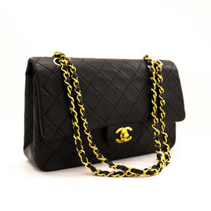 "CHANEL 2.55 Double Flap 10"" Chain Shoulder Bag Black Lambskin y55 hannari-shop"