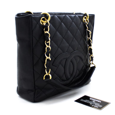 CHANEL Caviar PST Chain Shoulder Bag Shopping Tote Black Quilted u13