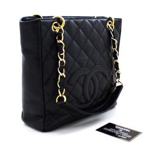 CHANEL Caviar PST Chain Shoulder Bag Hoko Tote Tiki pango Quilted u13