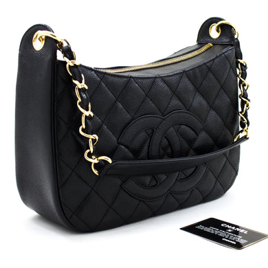 CHANEL Caviar Chain One Shoulder Bag Black Quilted Leather Zipper u70 hannari-shop