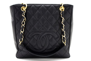 CHANEL Caviar PST Chain Shoulder Bag Shopping Tote Black Quilted u13-hannari-shop