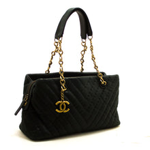 CHANEL V-Stitch Glitter Coated Leather Chain Shoulder Bag Black R49-Chanel-hannari-shop