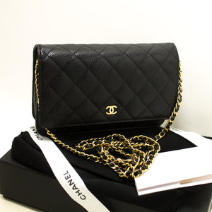 CHANEL Caviar Wallet On Chain WOC Black Shoulder Bag Crossbody p44