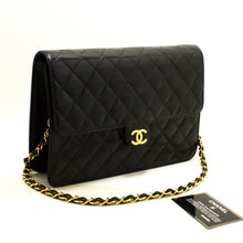 CHANEL Chain Shoulder Bag Clutch Black Quilted Flap Lambskin Q81-Chanel-hannari-shop