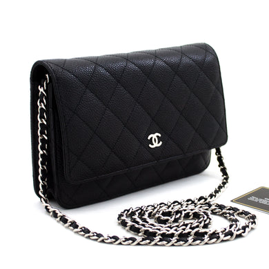 CHANEL Caviar Wallet On Chain WOC Black Shoulder Bag Crossbody u14