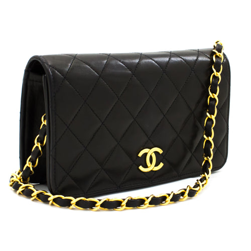 CHANEL Small Chain Shoulder Bag Clutch Black Quilted Flap Lambskin t30
