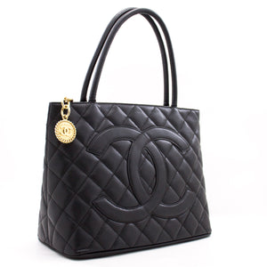 CHANEL Gold Medallion Caviar Shoulder Bag Grand Shopping Tote a02 hannari-shop