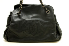 CHANEL Caviar Accordion Chain Shoulder Bag Black Quilted Leather p35