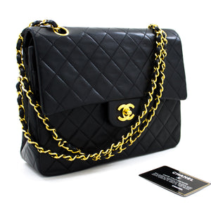 CHANEL 2.55 Double Flap Medium Chain Shoulder Bag Black Lambskin u71 hannari-shop