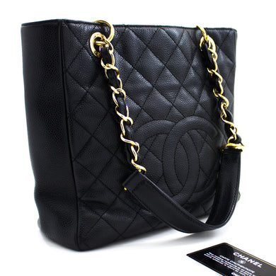 CHANEL Caviar PST Chain Shoulder Bag Shopping Tote Black Quilted u15