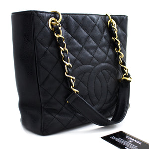CHANEL Caviar PST Chain Shoulder Bag Shopping Tote Black Quilted u15-hannari-shop