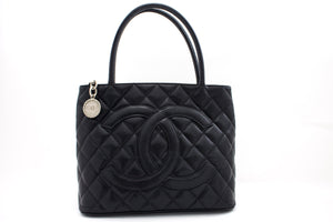 CHANEL Silver Medallion Caviar Shoulder Bag Shopping Tote Black t25