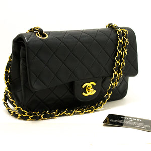 "CHANEL 2.55 Double Flap 9"" Chain Shoulder Bag Black Quilted Lamb Q95"
