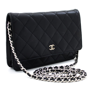 CHANEL Black Wallet On Chain WOC Shoulder Bag Crossbody Clutch t05
