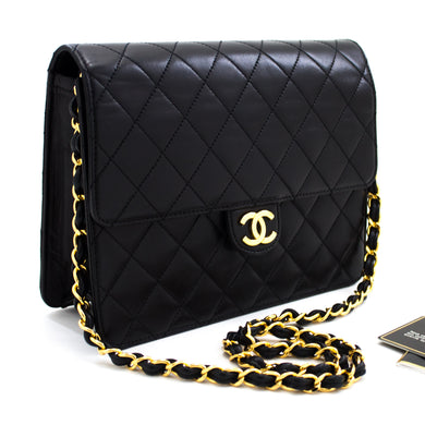 CHANEL Chain Tlhakole e Potlakileng Heather Bag Clutch Black Quilted Flap Lambskin u18