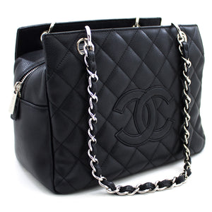 CHANEL Caviar Caviar Chain Shoulder Shopping Tote Black Silver u69 hannari- მაღაზია