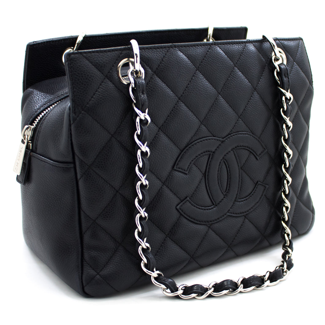 CHANEL Caviar Chain Shoulder Bag Shopping Tote Black Silver u69 hannari-shop
