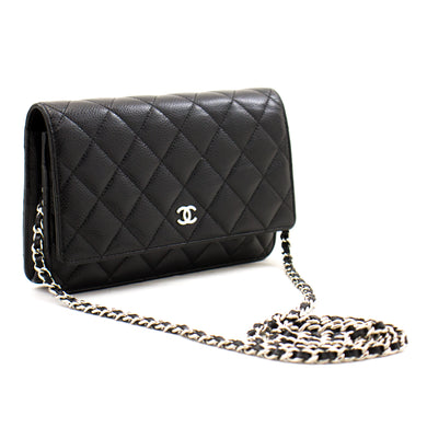 CHANEL Caviar Wallet On Chain WOC Black Black китфи Crossbody a01 hannari-shop