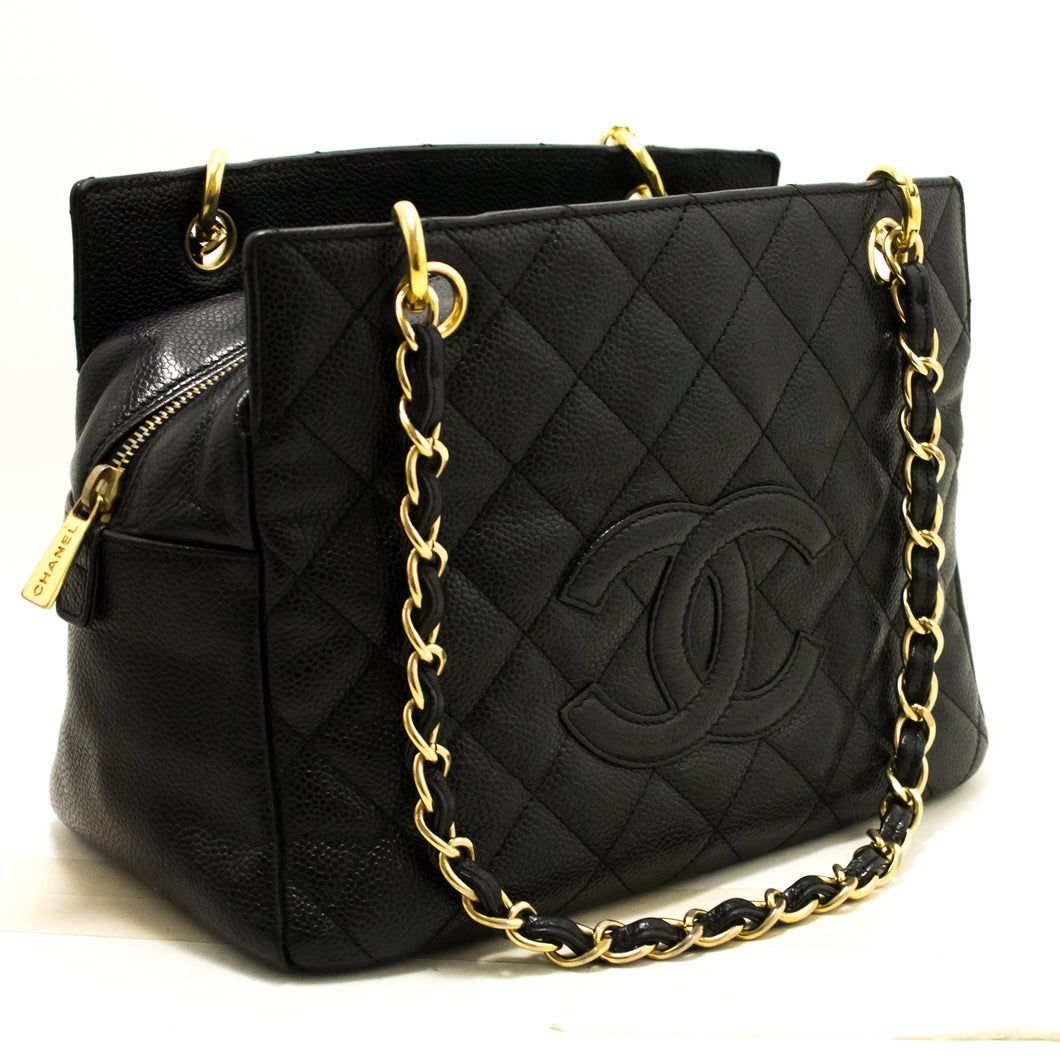 CHANEL Caviar Chain Shoulder Bag Shopping Tote Black Quilted Q94-Chanel-hannari-shop