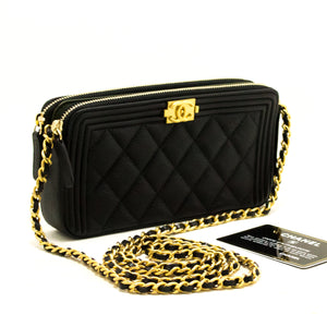 MINT! CHANEL Boy Black Caviar Wallet On Chain WOC Zip Shoulder Bag Q11