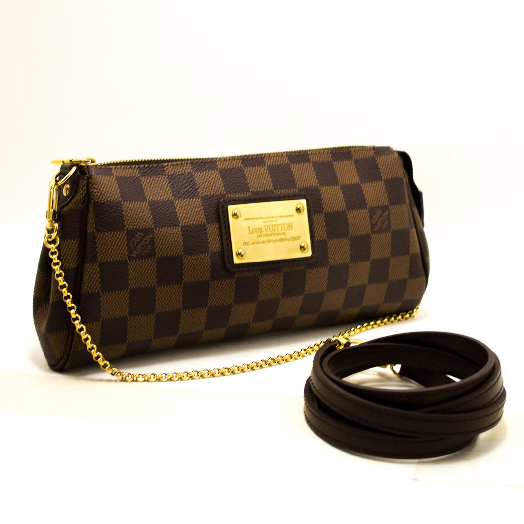 Louis Vuitton Eva Ebene Damier Canvas Shoulder Bag Handbag Gold R40-Louis Vuitton-hannari-shop
