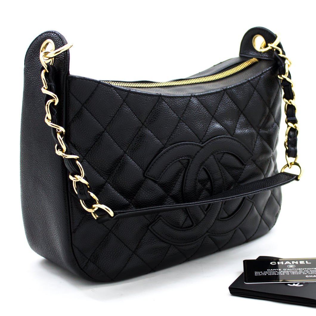CHANEL Caviar Chain One Shoulder Bag Black Quilted Leather Zipper u17 hannari-shop