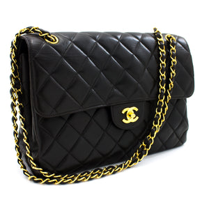 CHANEL Double Face Chain Shoulder Bag Black Quilted Flap Lambskin t22