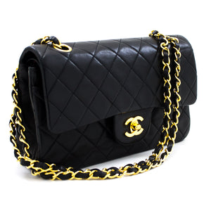 "CHANEL 2.55 Flap 9 ""Chain Shoulder Bag Black Lambskin Purse u26"