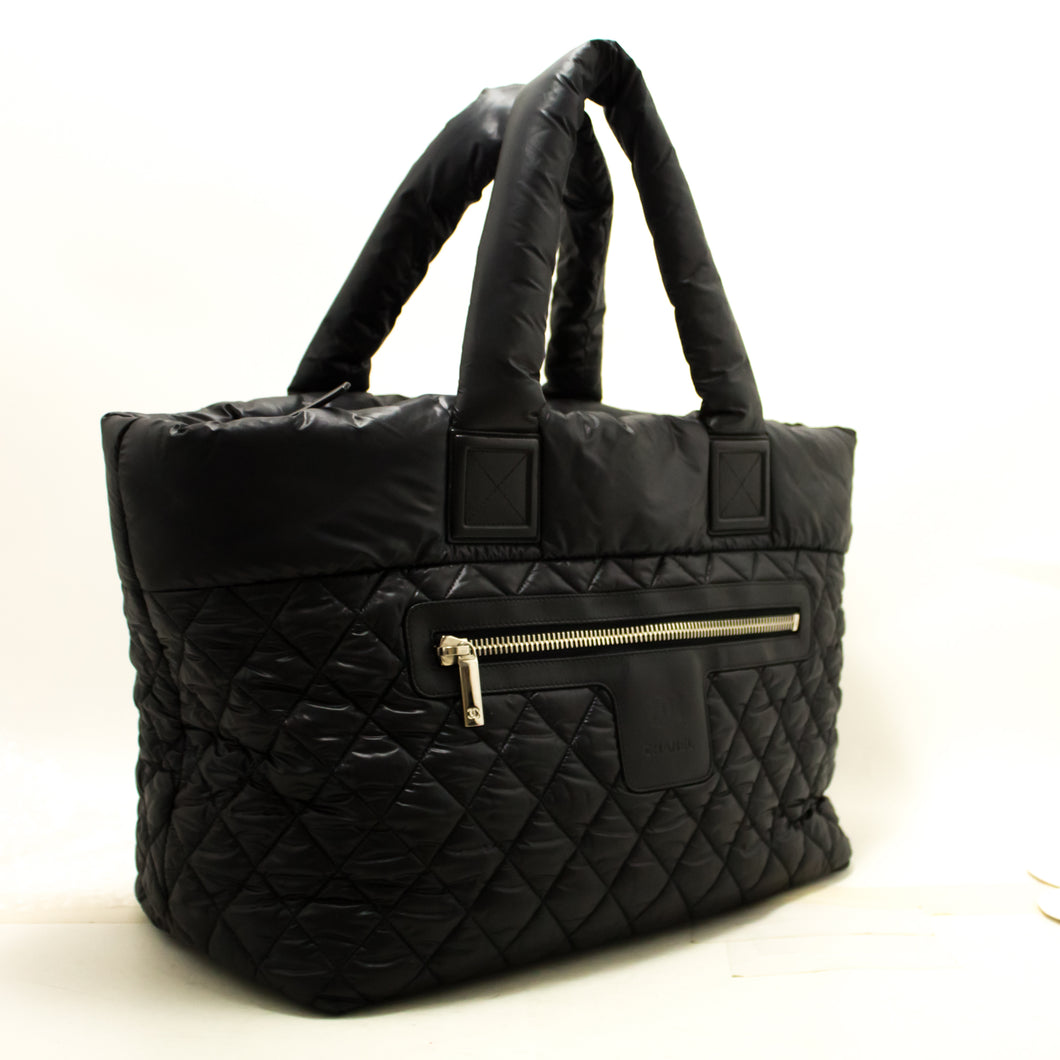 CHANEL Coco Cocoon Nylon Jumbo Large Tote Bag Handbag Black Q09-Chanel-hannari-shop