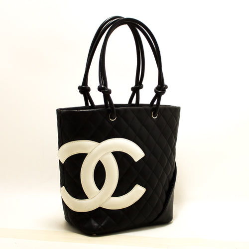 CHANEL Cambon Tote Small Shoulder Bag Black White Quilted Calfskin R37-hanel-hannari-shop