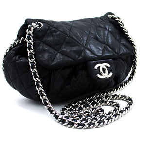 CHANEL Chain Around Shoulder Bag Crossbody Black Calfskin Leather u75 hannari-shop