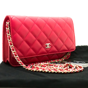 CHANEL Red Pink Wallet On Chain WOC Shoulder Bag Crossbody Clutch p19-Chanel-hannari-shop