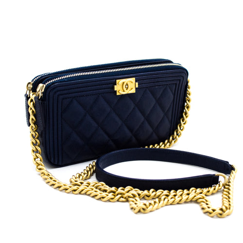 CHANEL Boy Navy Caviar Wallet On Chain WOC Double Zip ejika apo X32 hannari-shop