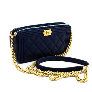 CHANEL Boy Navy Caviar Wallet On Chain WOC Double Zip Shoulder Bag x32 hannari-shop