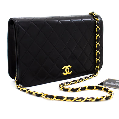 CHANEL Chain Shoulder Bag Clutch Black Quilted Flap Lambskin u23