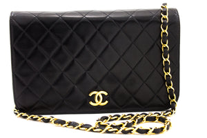 CHANEL Chain Shoulder Bag Clutch Black Quilted Flap Lambskin u23-hannari-shop