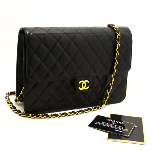 de5d45e28078 CHANEL Chain Shoulder Bag Clutch Black Quilted Flap Lambskin Q74