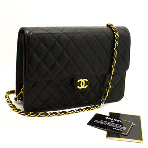 CHANEL Chain Shoulder Bag Clutch Black Quilted Flap Lambskin Q74