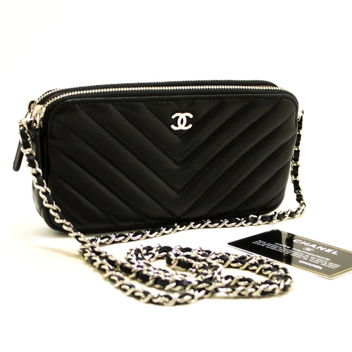 CHANEL V-Stitch Lambskin Wallet On Chain WOC Shoulder Bag Black Q12