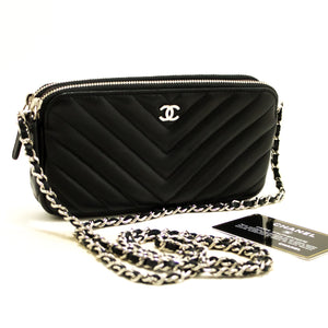 87155dd7dad82a CHANEL V-Stitch Lambskin Wallet On Chain WOC Shoulder Bag Black Q12